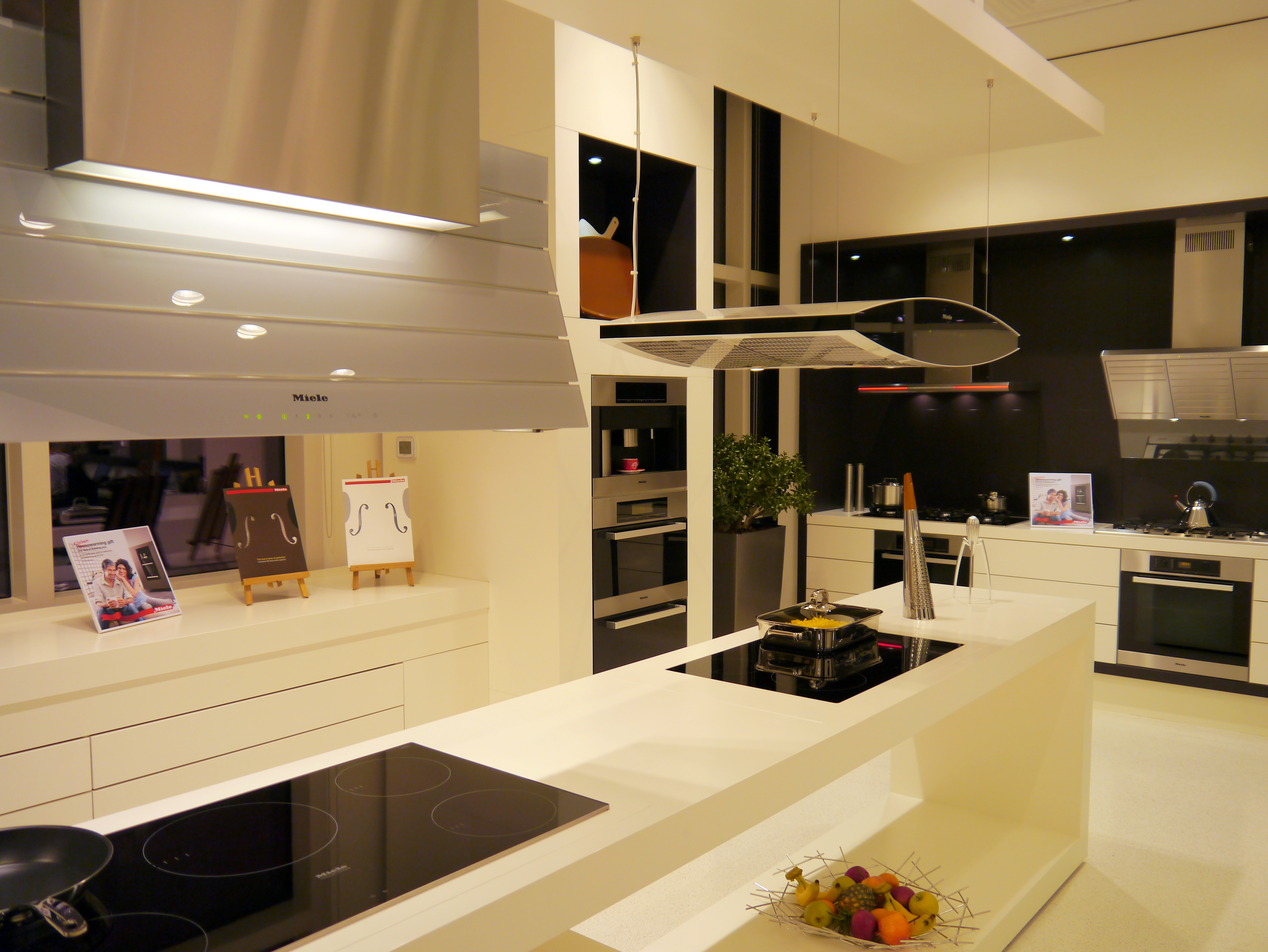 Kitchens With Their Fancy Extractor Hoods In The Showroom