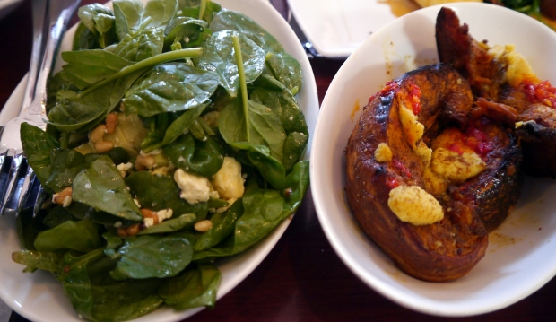 Spinach and avocado salad plus Roasted squash with chilli and garlilc