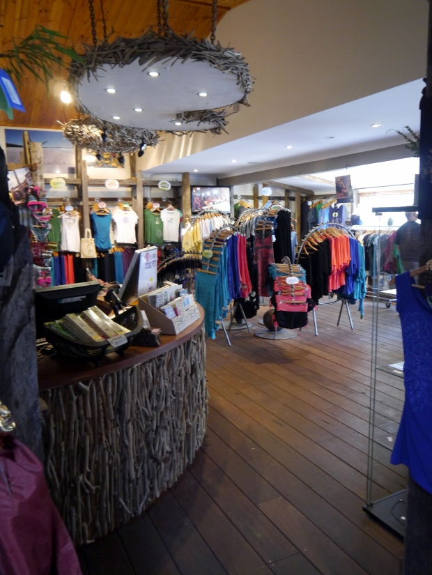 The shop at Samudra stocking beautiful lines of yoga clothes and accessories