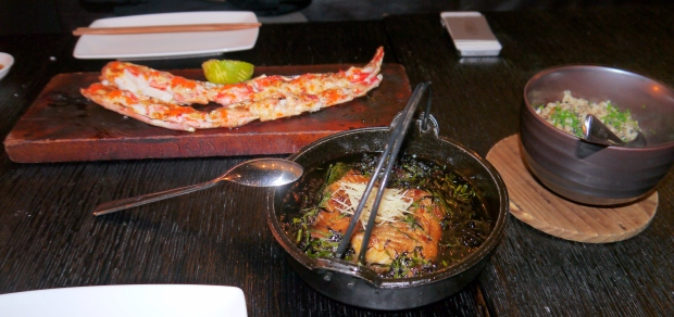 Our mains; Dynamite Kani, Swordfish Shoyouyaki, and Truffle Chahan...mmmm!