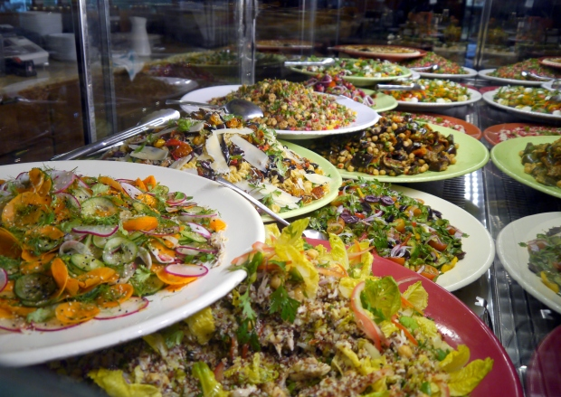 The beautiful salad counter full of delicious creations