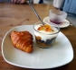 Freshly based mini croissant and the rather scrumptious peach, yoghurt & chocolate granola