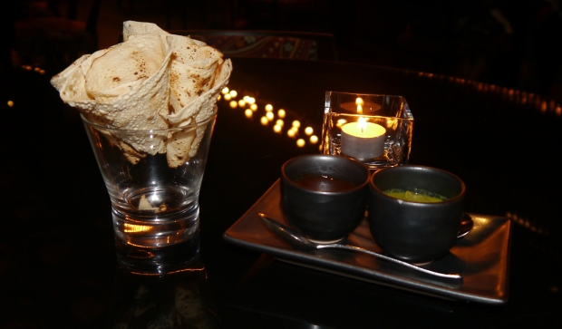 Patiala's stylish take on the oh so simple poppadoms with chutney
