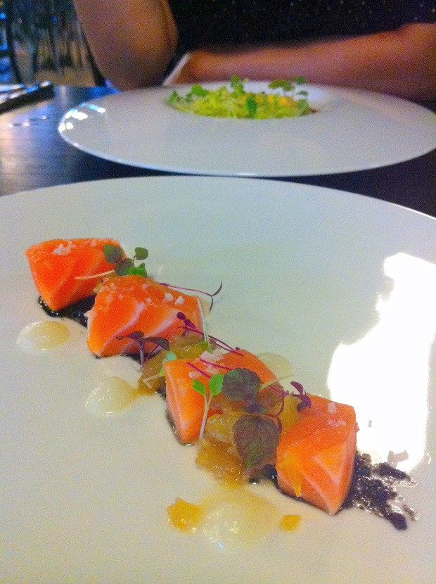 Salmon with black sesame, orange and turnip