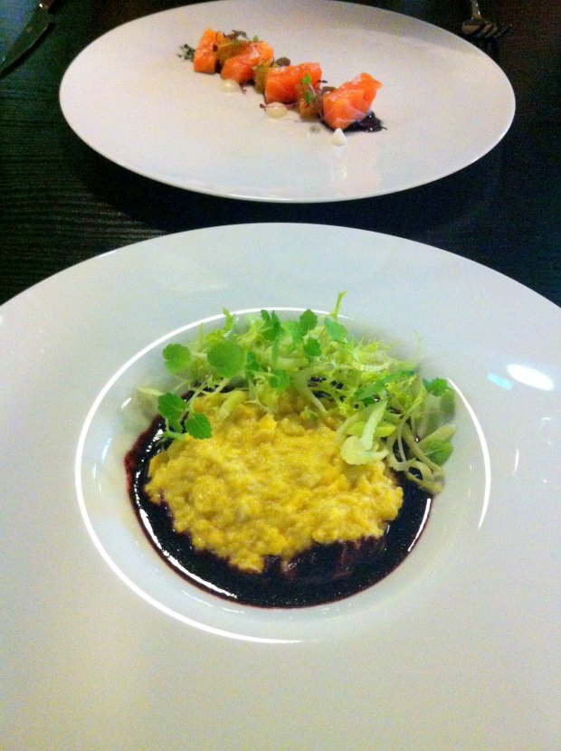 Pear barley risotto with sea of beetroot jus and crispy fennel