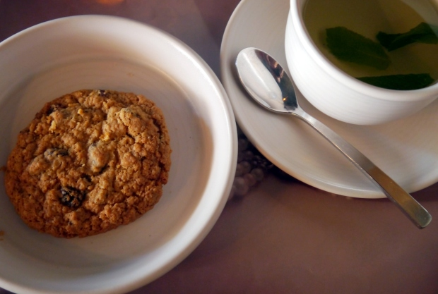 Tea and the oatmeal and raisin cookies