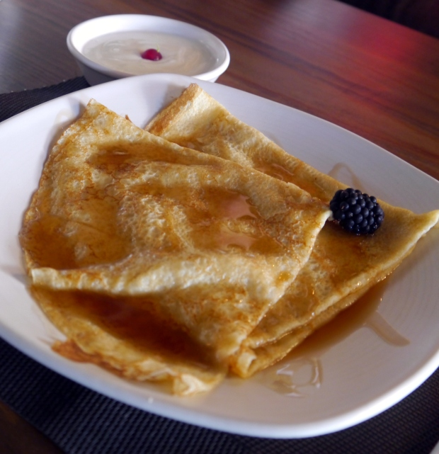 French style crepes with maple syrup and yoghurt plus random blackberry