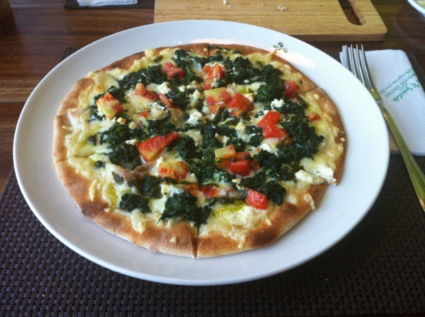 Spinach & feta pizza