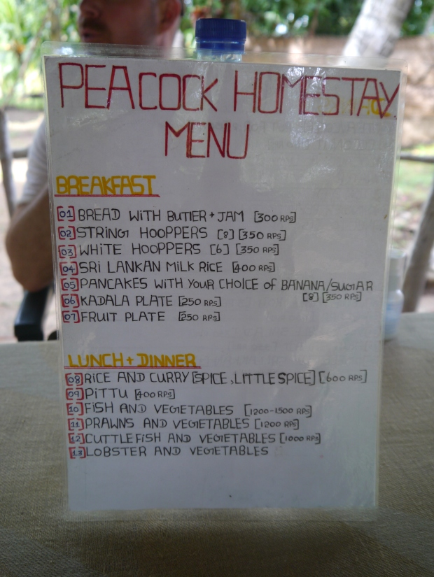 The menu, handwritten by Saman's sister