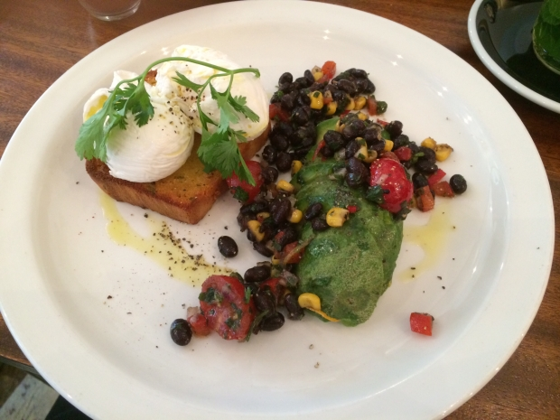 Cornbread with Eggs Blackbean salsa and added Avo