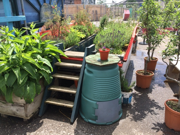 One of the skips bursting with herbs