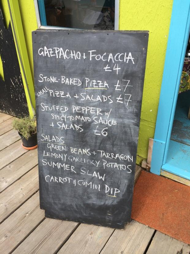 The chalkboard menu