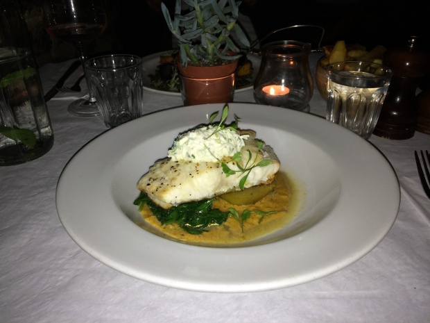 Baked cod,sweet potato, spinach, coconut, red lentil curry sauce