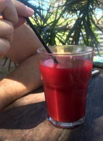 And a beautiful bright red juice