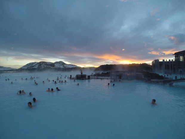The view over the Blue Lagoon, hot springs at Grindavik