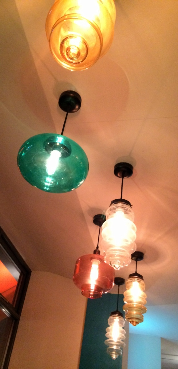 Beautiful coloured glass shades for the lights