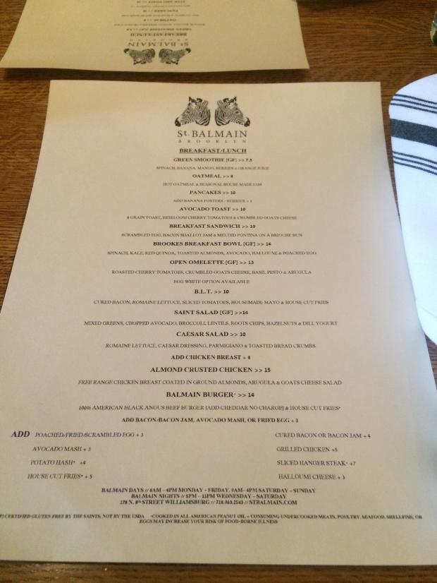 The menu at St. Balmain