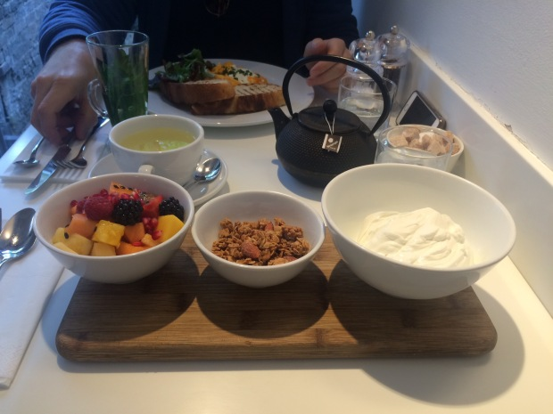 Love the presentation: granola, berries and yoghurt