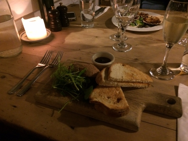 The chicken liver pate by candlelight!