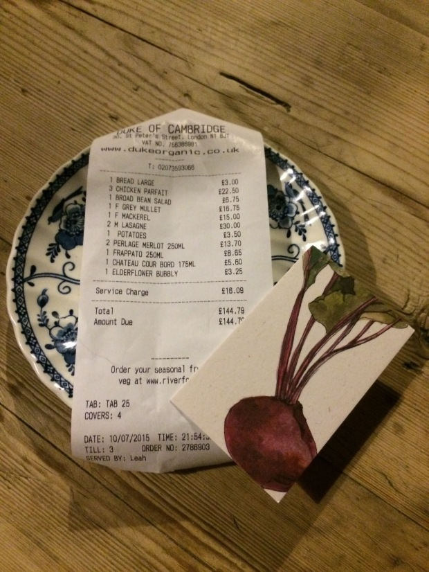 The bill for four